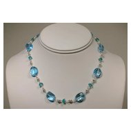 Blue Topaz and Apatite Sterling Silver Necklace