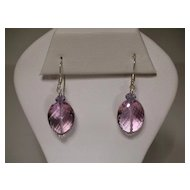 Sterling Silver Pink Amethyst and Iolite Earrings