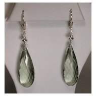 Sterling Silver Green Amethyst Pear Earrings