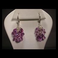 Sterling Silver Pink Amethyst Cluster Earrings