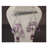 Sterling Silver Pink Amethyst Chandelier Earrings