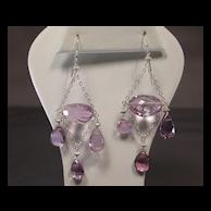 Sterling Silver Pink Amethyst Chandelier Earrings