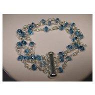 Sterling Silver London Blue Topaz 3 Strand Bracelet