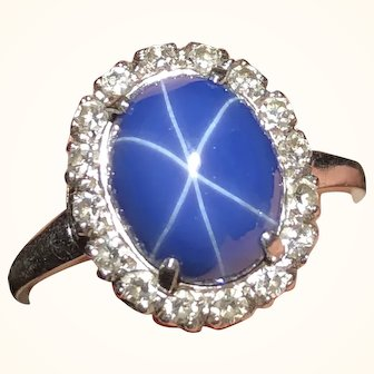 Pretty 3 Carat Synthetic Star Sapphire 14K Ring