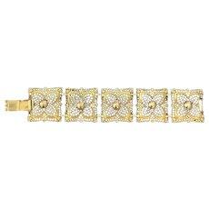Vintage Gold Plated Filigree Bracelet Signed Celebrity