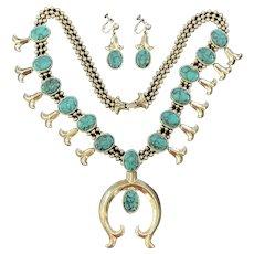 1960's Goldette Squash Blossom Necklace & Earrings Set