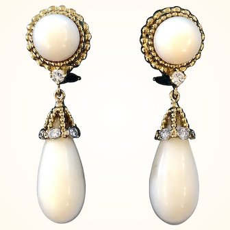 Magnificent 18K Gold White Coral & Diamond Earrings
