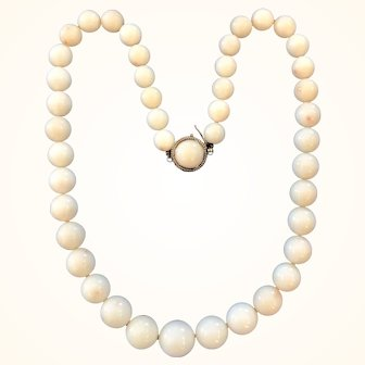 """Lovely 19"""" Graduated White Coral Bead Necklace 14K Clasp"""