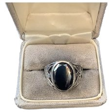 Native American Men's Hematite Thunderbird Sterling Ring