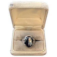 Native American Men's Hematite Sterling Ring
