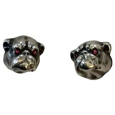 Victorian Unger Brothers Sterling Silver Bulldog Cufflinks