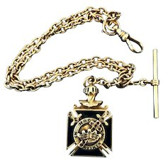 Antique Masonic Knights Templar Gold Watch Fob & Chain