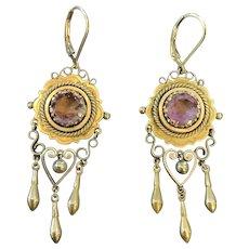Victorian 9k Gold Amethyst Dangle Earrings