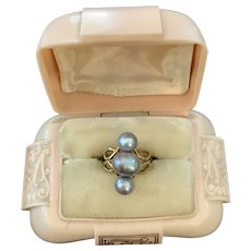 Gorgeous Mid Century 14k Gold Gray Pearl Ring