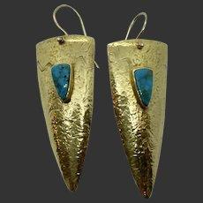 Spectacular 18k Gold Cerrillos Turquoise Earrings