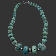 Native American Turquoise & Sterling Large Bead Necklace