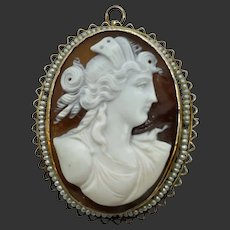 Victorian 10k Gold Carved Cameo Brooch Pendant