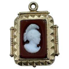 Victorian Gold Plated Double Sided Cameo Watch Fob