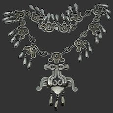 Early Mexican Sterling Silver Casa Bells Mayan Necklace
