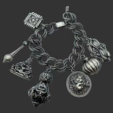 Schiaparelli Etruscan Revival Fob Charm Bracelet