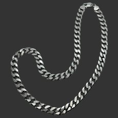 """Sterling Silver 20"""" Heavy Curb Link Chain Necklace"""