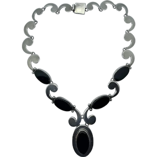 RARE Taxco 1950's Martinez Sterling & Onyx Necklace