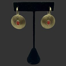 Gorgeous 18k Gold Red Coral Drop Disk Earrings