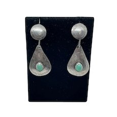 Lovely Native American Sterling & Turquoise Drop Earrings