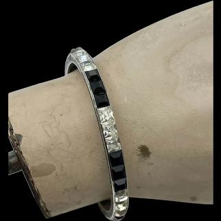 Art Deco Sterling Silver Black & White Crystal Bangle Bracelet