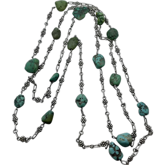 Victorian Sterling Silver Turquoise Nugget Muff Guard Chain
