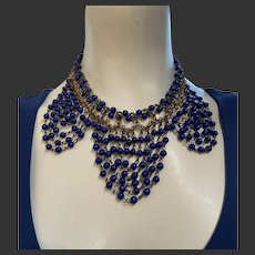 Early Miriam Haskell Lapis Glass Bead Swag Necklace