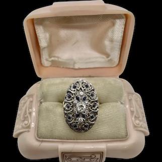 Exquisite 18k Gold Platinum Diamond & Sapphire Ring