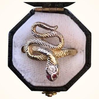Victorian 14k Gold Snake Ring Diamond Head Ruby Eyes