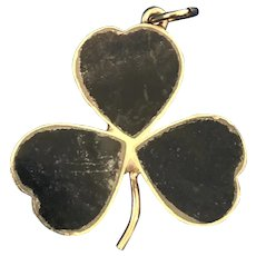Irish Connemara Marble Shamrock Charm 9K