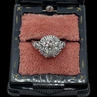 18k White Gold Old European Cut Art Deco Diamond Ring
