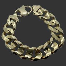"""Massive 14k Gold Curb Link 9"""" Bracelet"""