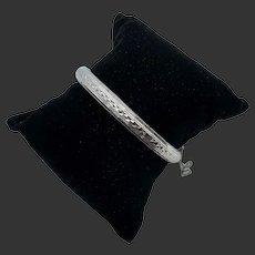 Heavy 18k White Gold Textured Bangle Bracelet