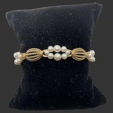 14k Yellow Gold Pearl Link Bracelet