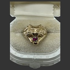 14k Yellow Gold Lion's Head Ring Ruby