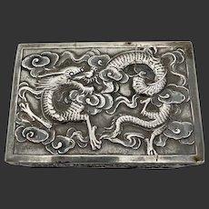 Chinese Export Silver Dragon Wang Hing Box