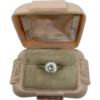 14k Gold Art Deco Style C Z Solitaire Ring