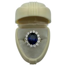 14k Gold Princess Diana Synthetic Sapphire Ring