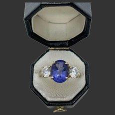 14k Gold 3 Carat Oval Cut Tanzanite Ring