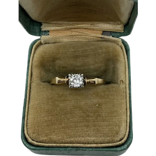 14k Gold Art Deco Diamond Solitaire Ring