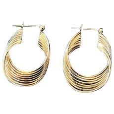 14k Yellow Gold Undulating Hoop Earrings