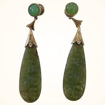 Art Deco Carved Jade 14K Gold Earrings