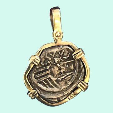 Sterling Silver Treasure Coin Pendant 14K Setting