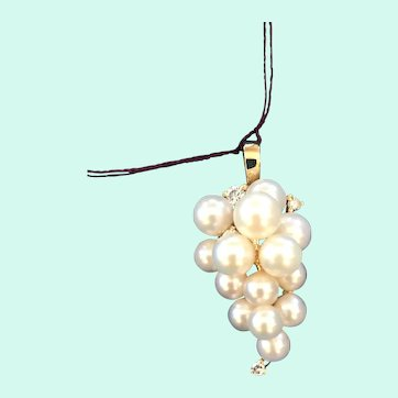 14K Gold Pearl Cluster Pendant With Diamonds