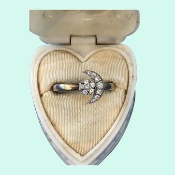 1980 14K N Teufel Swinger Ring Diamond Moon & Stars