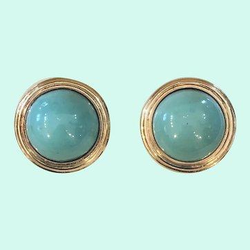 Vintage Tiffany & Co. 18k Gold Persian Turquoise Earring Omega Backs